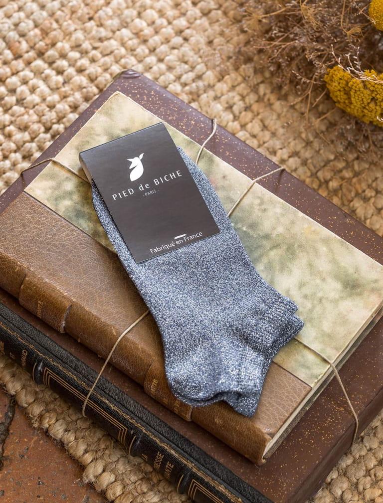 Ankle socks - Blue glitter