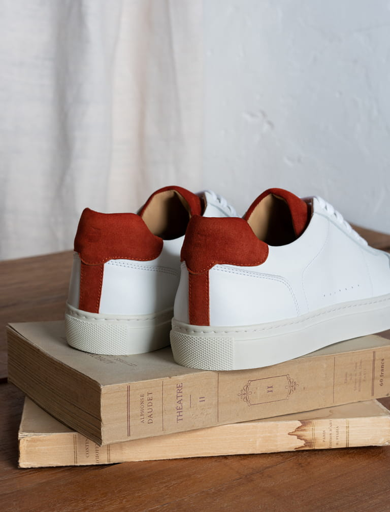 Sneakers Rick - White and terracota