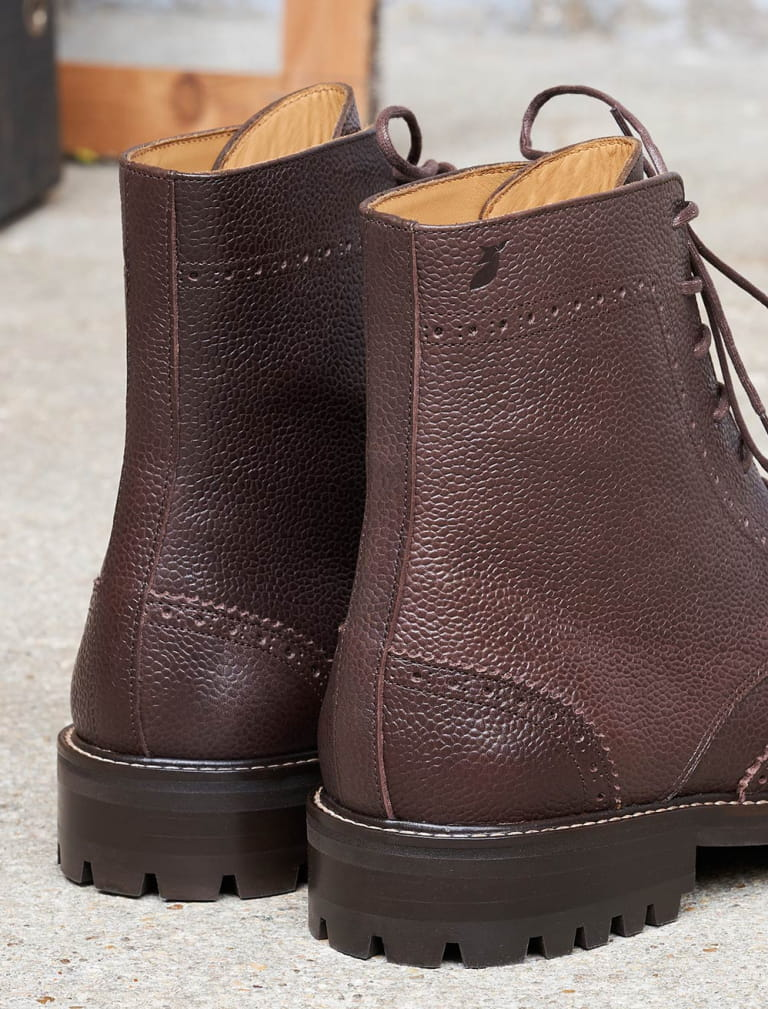 Wingtip boots - Grained chocolate