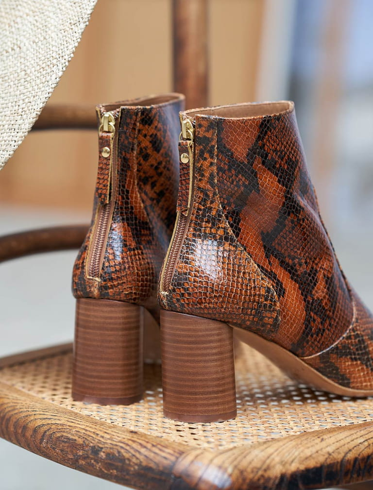 Megan Ankle Heeled Boots - Reptile