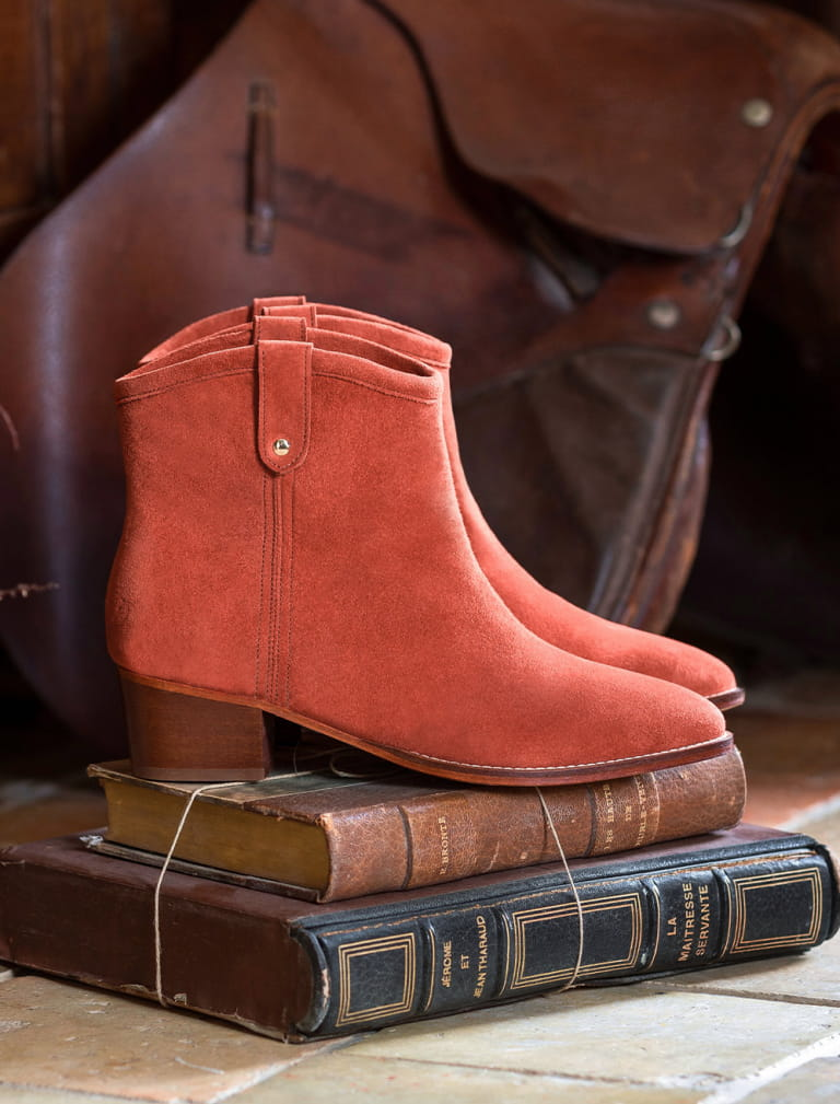Amber Ankle heeled Boots - Terracotta