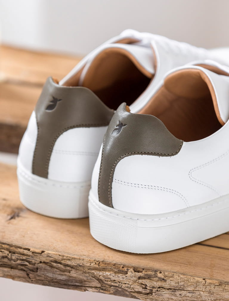 Sneakers Gino - White and khaki