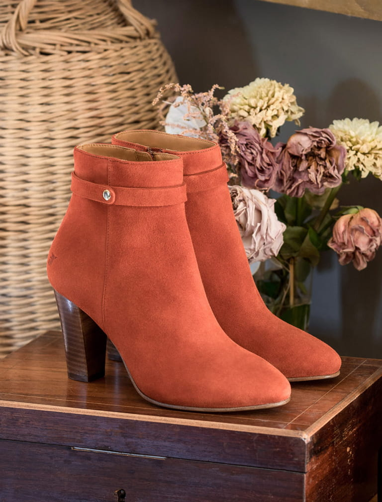 Ysée Ankle Heeled Boots - Terracotta