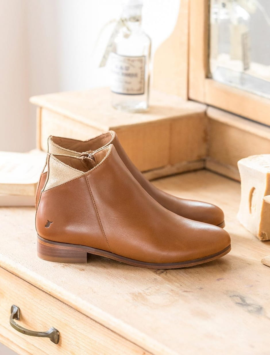 Ankle Boots Gaëlle - Cognac and gold