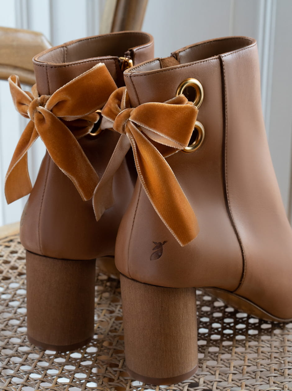 Emma Heeled Ankle Boots - Cognac